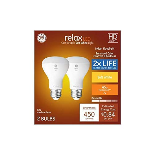 GE Relax 2-Pack 45 W Equivalent Dimmable Soft White R20 LED Light Fixture Light Bulbs