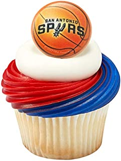 NBA San Antonio Spurs Officially Licensed Cupcake Topper Rings - Pack of 24