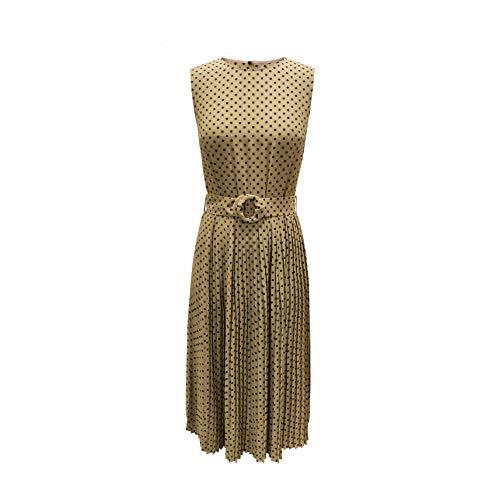 Charis Allure Women's Vintage Polka Dot Sleeveless Boho Dress Summer Pleated Maxi Sundresses with O-Ring,Camel