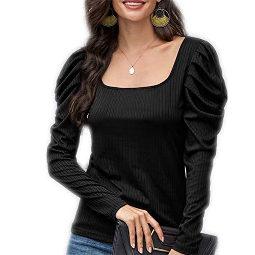 Otoño/Invierno Tops para Mujer Camiseta de Color sólido con Cuello en U y Manga abullonada S-XL