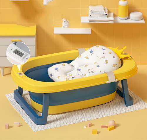 ASJ Bañera Plegable para Bebé con Cojín Bañera de Bebé Bañera Infantil Plegable 82×51×21cm