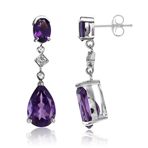 Silvershake 5.58ct. Natural African Amethyst and White Topaz 925 Sterling Silver Drop Dangle Post Earrings