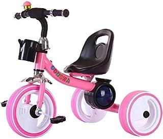 عربة اطفال ذات ثلاثية العجلات واضواء ليد، لون وردي
