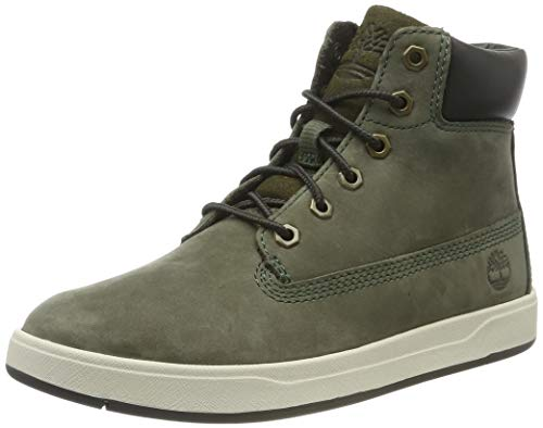 Timberland Unisex-Kinder Davis Square 6 Inch Sneaker, Grün (Dark Green Nubuck), 34 EU