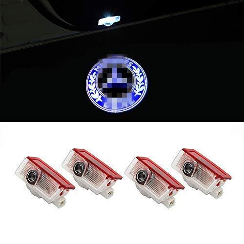 QJZoncuji 4 Stücke Autotür Einstiegsbeleuchtung Projektion Logo Türbeleuchtung Projektor willkommen licht (for 4 E)