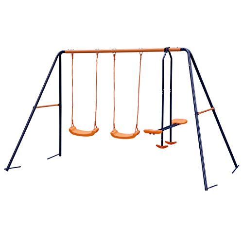 JungleA Double Swing Set with 2 Swing Seats with 1 Seesaw Play Set, Metal A-Frame Garden Double...