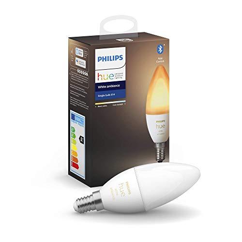Philips Hue Bombilla Inteligente Vela LED E14, 5.2 W, con Bluetooth, Luz blanca de cálida a fría, Compatible con Alexa y Google Home