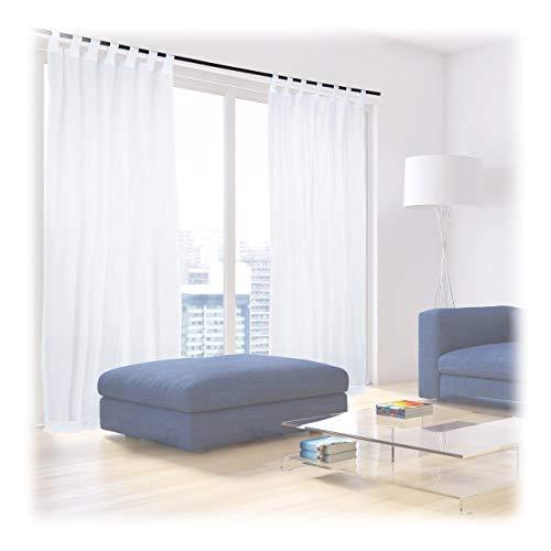 Relaxdays Vorhänge mit Schlaufen, 2er-Set, Voile, halbtransparente Gardinen, einfarbig, Polyester HxB 245 x 140 cm, weiß