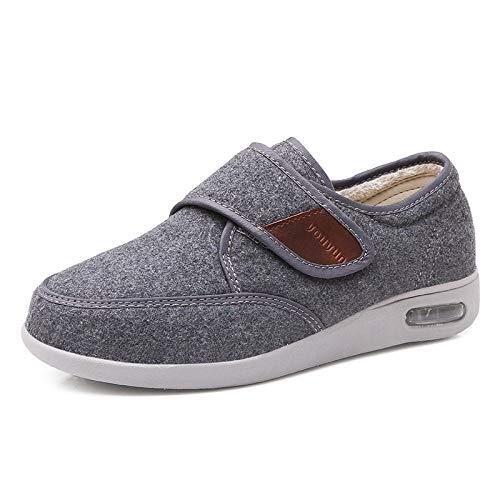 B/H Hombre Ajustable De Velcro Zapatillas OrtopéDica,Zapatos para Ancianos otoño e Invierno, cálidos Zapatos Casuales de Mediana Edad-Gray_43,Entrenador para pies hinchados,edemas,Ancianos