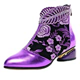 Women's Combat Boots Lace Up Miliary Ankle Booties(Purple, 9.5)
