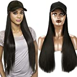 iLUU Baseball Cap with 24'/60cm Synthetic Hair Extensions Black Hat Straight Hair Long Natural Black Hairpiece Attached Hats Hair Pieces Wig for Women Daily Party Use (natural black)