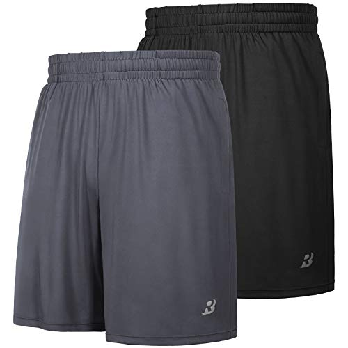 Roadbox Men's 7' Workout Running Shorts Lightweight Gym Athletic Shorts Basketball Shorts for Men 2 Pack with Pocket Black+Gray Spare04