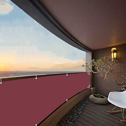 Aiyaoo Paravento per Balconi 50x500cm Windschutz Sonnenschutz Balkonbespannung 100% Privatsphäre für Balkon Terrasse Rot