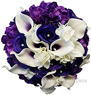 Sweet Home Deco Real Touch Calla Lily Wedding Bride Bouquet/Boutonniere/Corsage Artifiial Flower Wedding Flower Package (Purple-Hand Tied)