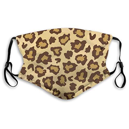 VTYOSQ Mundschutz Leopardenmuster mit Kohlefilter, verstellbarer Gesichtsdeckel, waschbar, wiederverwendbar