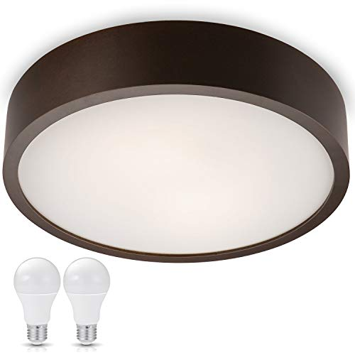 JVS-Handel, applique da parete, lampada da soffitto Madrid Wenge, con diametro di 37 cm, LED IP20 E27 da 230V per casa, ufficio, studio, corridoio, parete, soffitto, Legno, 10W E27