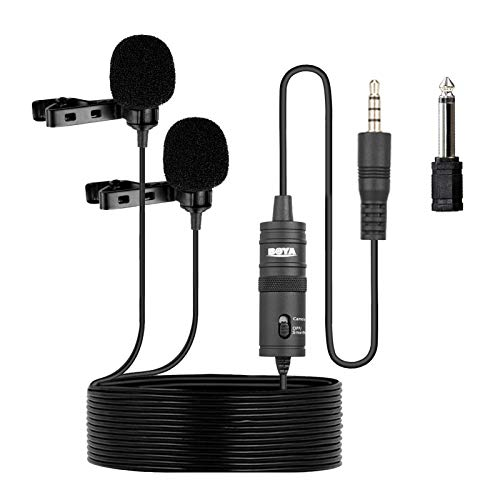 BOYA BY-M1DM Microfono da risvolto universale a doppia testa Lavalier con adattatore da 1 8 per iPhone 8 7 Smartphone Canon Videocamera Nikon DSLR Videocamere Videoregistratore