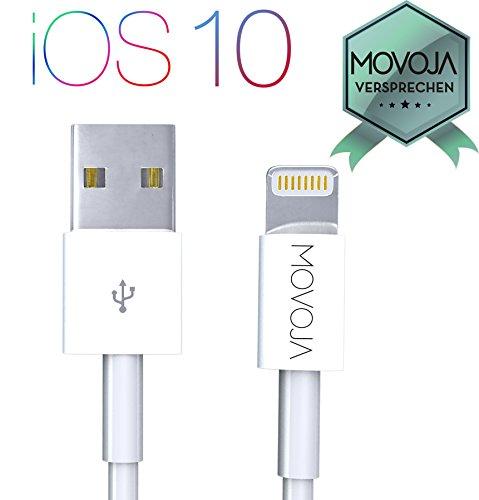 Movoja 1 Meter Lightning Kabel Lightning zu USB Kabel | Apple Ladekabel für iPhone 7 / 6s / 6 / iPhone 6 Plus / 6s Plus / 7 Plus, iPhone 5 / 5s / SE, iPad Air 2 / Mini 3 / iPod 5 / Nano 7