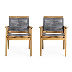 Acacia and gray rope patio chairs