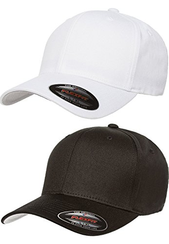 Premium Original Flexfit V-Flexfit Cotton Twill Fitted Hat 5001 2-Pack (S-M, Black/White)