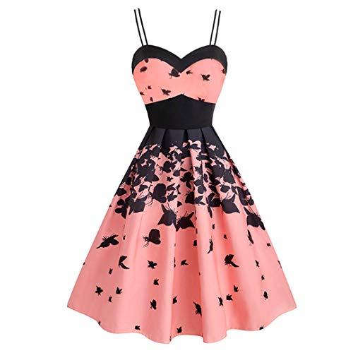 NHFVIRE Vintage Schmetterlingsdruck Elegante Partei gefaltete Sommerkleid Frauen Doppelband Fit und Flare Hohe Taille Kleider Pink L