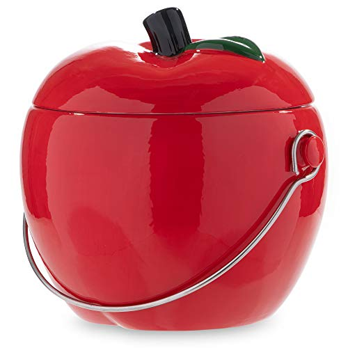 Great Features Of Ceramic Kitchen Compost Bin - Red Apple, 1.0 Gallon Charcoal Filter Compost Bucket...