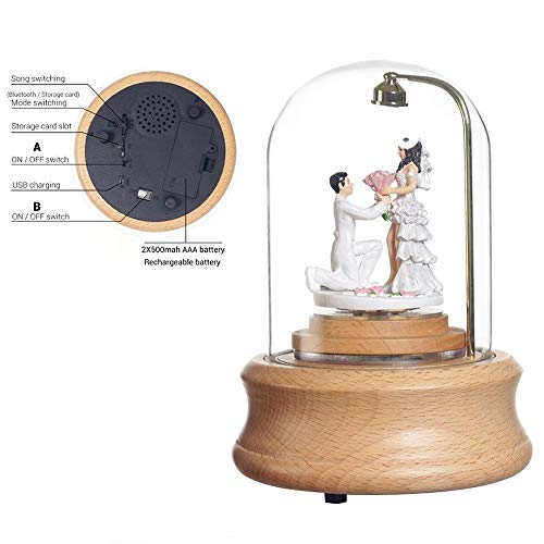 Carousel Music Box Romantische Planken speeldozen met LED-verlichting Gift QPLNTCQ (Color : Bluetooth lovers, Size : Free)