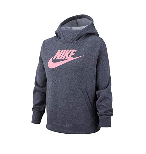 Nike G Nsw Pe Pullover, Felpa Bambina, Carbon Heather/Carbon Heather/(Pink), M