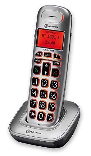 Amplicomms BigTel 1201 - Telefono con pulsante grande per anziani, telefoni forti per hard uditivo - telefoni compatibili con apparecchi acustici