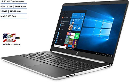 New HP 15.6' HD Touchscreen Laptop Intel Core i3-1005G1 16GB DDR4 RAM 256GB SSD HDMI Bluetooth 802.11/b/g/n/ac Windows 10 Silver Bonus 32GB PCS USB Card