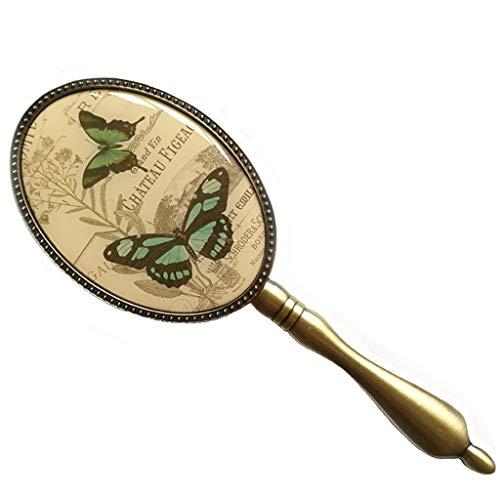 Decorative mirror-QFF Rétro poignée miroir, maquillage fille européenne Miroir de style papillon Impression tenue Beauté Miroir Portable ovale Petit Miroir Miroir (Size : 7 * 19.5CM)