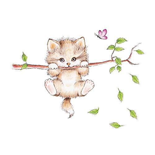 LPxdywlk Wohnzimmer Schlafzimmer Wandaufkleber 25cm X 70cm PVC Cartoon Kratzbaum Schmetterling Form Aufkleber Katze*