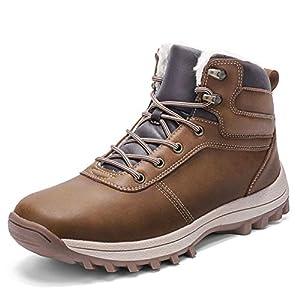 Botas de Nieve Hombre Impermeable Botas de Invierno Antideslizante Calientes Botines Sneakers Marrón 44