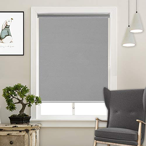 Cordless Roller Shades Light Blocking UV Protection Window Shades for Home, Hotel, Club,Grey 27x72'
