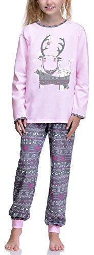 Timone Pijama Conjunto Camisetas y Pantalones Vestidos de Cama Niña Adolescente 850 (Rosa, 152)