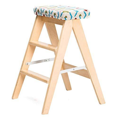 MKJYDM Taburete Plegable de Moda de Madera Maciza Creativo hogar Simple Escalera Plegable Taburete Taburete de Cocina Taburete portátil 48 x 42.5 x 59 m Taburete