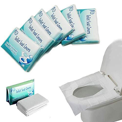 MAIYADUO - 60 Pcs Protector WC Desechable, Fundas de Asiento de Inodoro de Papel, Cubierta Desechable WC Cubre Water Biodegradable para Niños Mujeres Embarazadas Adultos, Uso en Baños Públicos