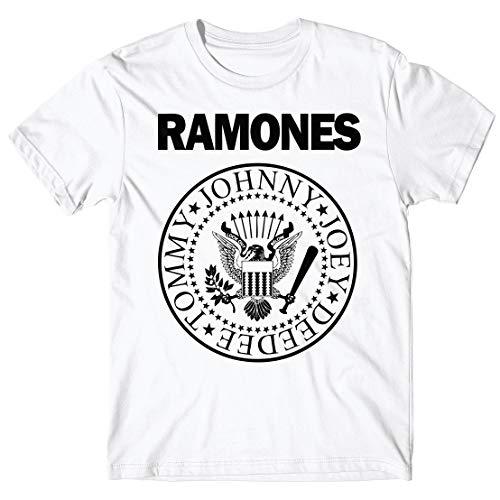 LaMAGLIERIA Camiseta Hombre - Ramones t-Shirt Punk Rock Band 100% algodón, L, Blanco