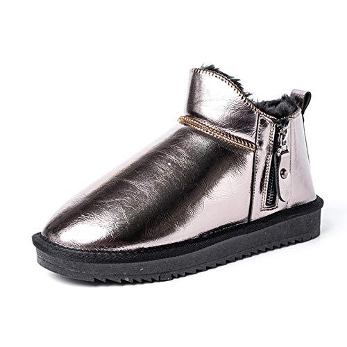 Q-YR Botas Cortas para Mujer Invierno Moda Lateral con Cremallera De Cuero Más Terciopelo Zapatos De Algodón Caliente Impermeable Y Antideslizante,C,40