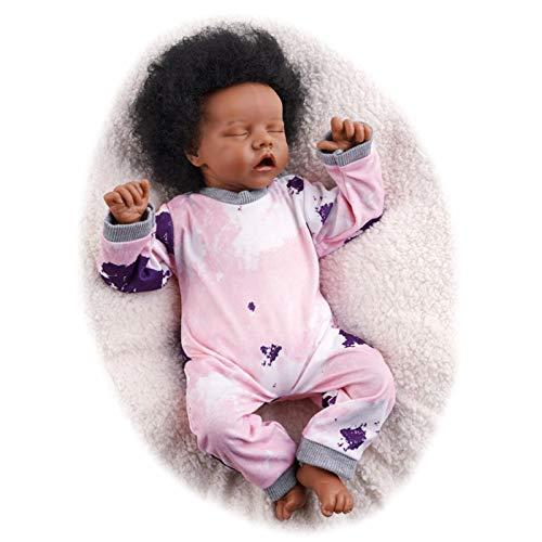 JIZHI Reborn Baby Dolls 17 Inch Sleeping Afro Black African American Realistic Newborn Baby Dolls Soft Cloth Body Lifelike Dolls Gift Set for Kids Age 3+