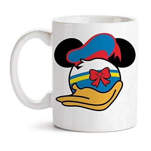 Lawenp - Taza de Disney, Pato Donald, Cabeza de Mickey, Pato Donald, Taza de café de cerámica de 11 oz / Vasos / Vasos, Alto brillo