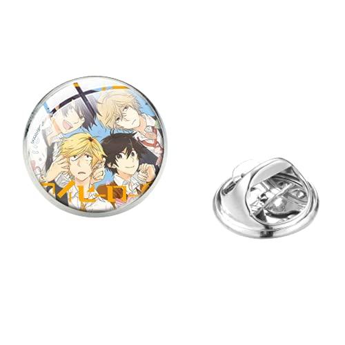 Hitorijime My Hero Edelstahl Pin BL Anime Figur Cartoon Muster Glas Cabochon Revers Pin Denim Jacken Zubehör