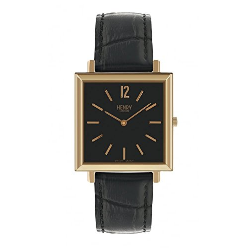 Henry London Damen Analog Quarz Uhr mit Leder Armband 5018479086406