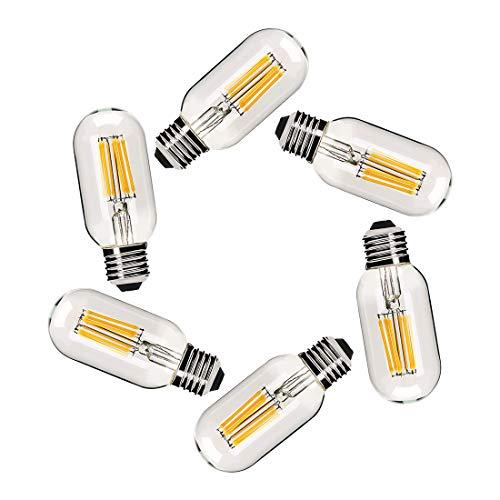 Dimmable Vintage Edison Tubular Bulb T45/T14, 6 Watt LED Light Bulb,E26 Medium Base 4000K Daylight White Filament Lamp 60 Watt Bulb Equivalent,600Lm,Pack of 6