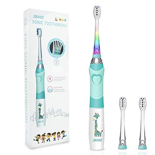Elektrische Zahnbürste Kinder, SEAGO Batterie Kinderzahnbürste, Weiche Bürste Schallzahnbürste mit Timer für Kinder(Alter von 4+) (Grün)
