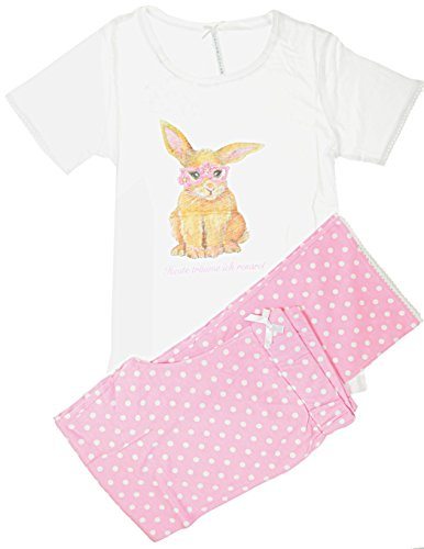 Louis & Louisa Schlafanzug - Pyjama Hase - weißes Oberteil mit Pünktchenhose - Motiv Hase (XL)