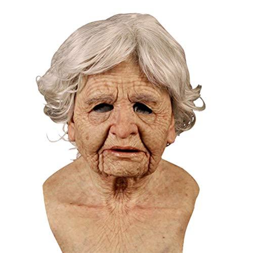 YEKKU Neuheit Alte Frau Maske und Haar Gruselig Mensch Realistisch Weiblich Latex Maske Halloween Horror Maske Für Maskerade Party Cosplay Großmutter Requisiten Spukhaus Requisiten