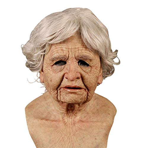 MeiLiu Máscara de Miedo de Halloween, Casco de Anciano para Mujer, Disfraz de Cosplay novedoso, máscara de látex para Adultos, Accesorios de decoración de Fiesta de Disfraces de Halloween