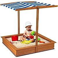 Bable Kids Wooden Outdoor Sandbox w/Height Adjustable Canopy