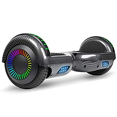 """SISIGAD Hoverboard with Bluetooth, 6.5"""" Self Balancing Electric Scooter, Balance Board with Built in Speaker, LED Colorful Lights, Ideal Gift for Kids-Carbon Black"""